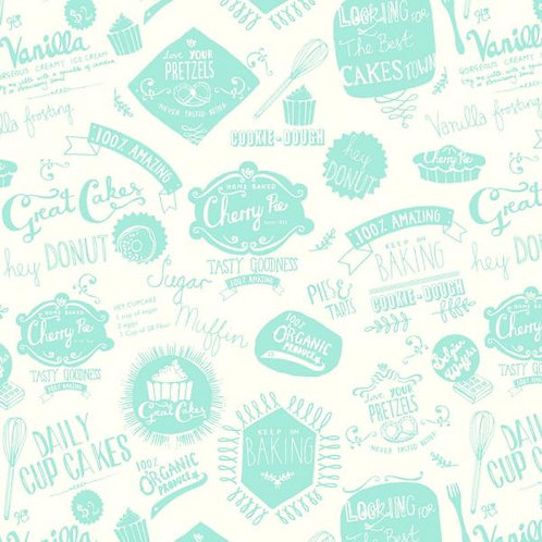 Makower Retro Baked Cooking Words Quilt Fabric