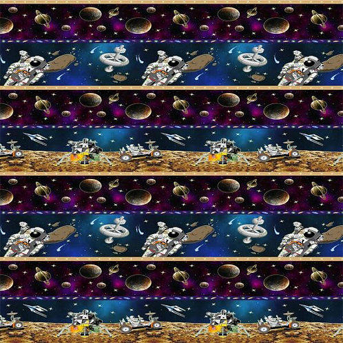 Avlyn Space Themed Solar System Border Quilt Fabric