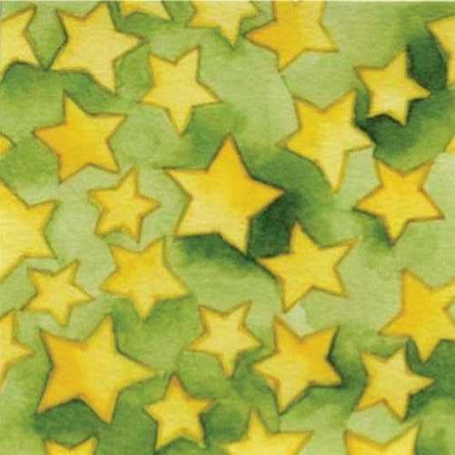 Fine Lines Cattitude C1084-3 Stars Green Quilt Fabric