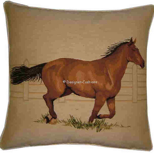 Bay Horse Galloping Tapestry Cushion Cover