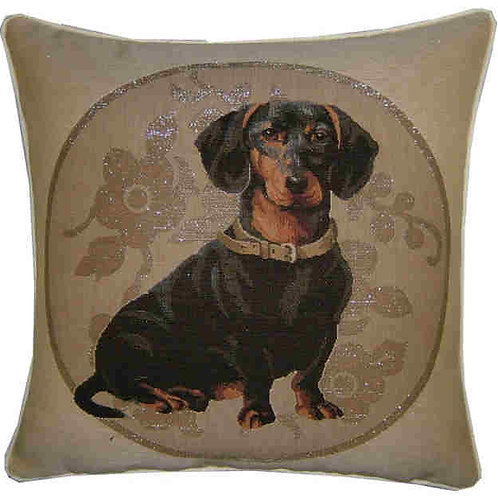 Dachshund Silver Circle Tapestry Cushion Cover