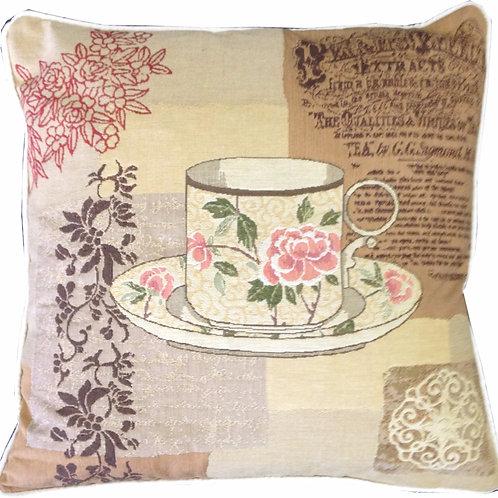Choice Teas Floral Teacup Tapestry Cushion Cover
