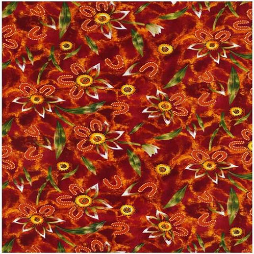 Nutex Australiana Girraween Flower Red Quilt Fabric Col 2