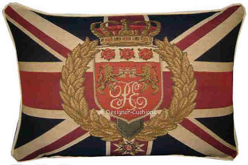 Union Jack Lions Wreath Flag Tapestry Oblong Cushion Cover