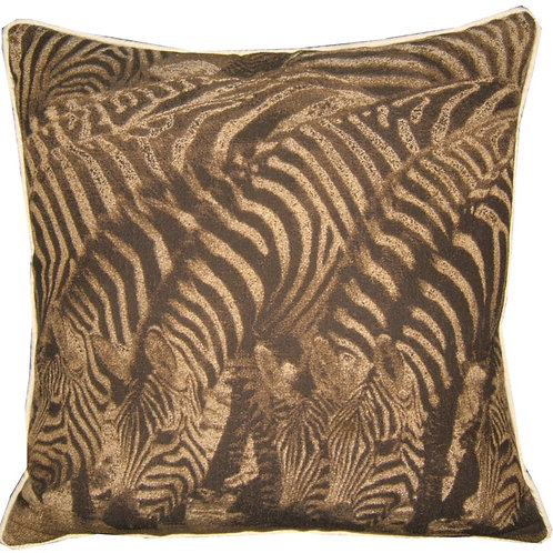 Savannah Zebras Sepia Tapestry Cushion Cover
