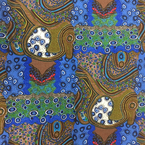 Nutex Australiana Narwee Blue Quilt Fabric