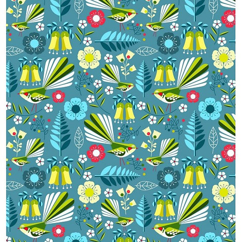 Nutex Early Birds Fantails Blue 80050 Col 2 Quilt Fabric