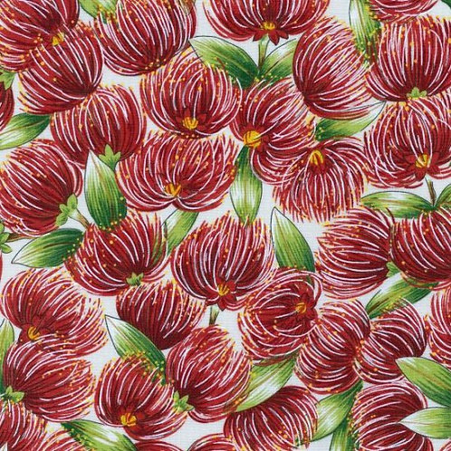 Nutex Kiwiana Pohutukawa Blossoms Cream Background Quilt Fabric