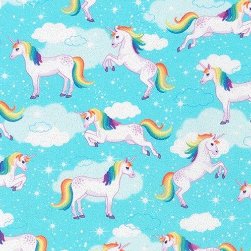 Robert Kaufman Glitter Enchanted Unicorns Aqua 19047-70 Quilt Fabric