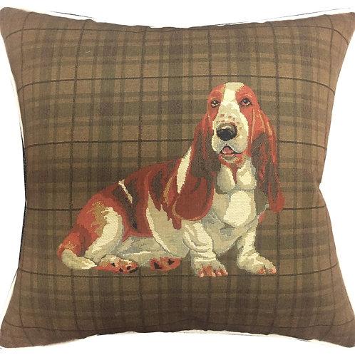 Bassett Hound Dark Check Tapestry Cushion Cover