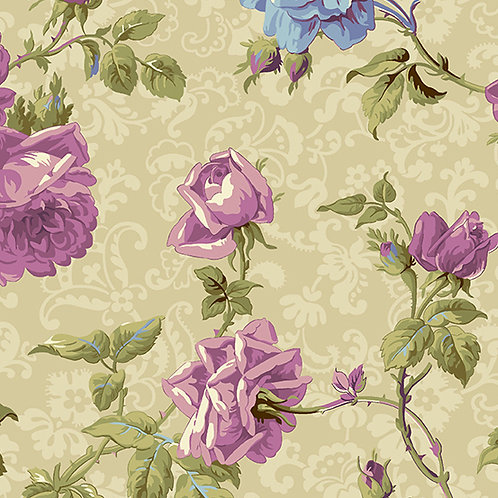 Andover 'Hat Box' Large Purple Roses 93560 Col2 Quilt Fabric