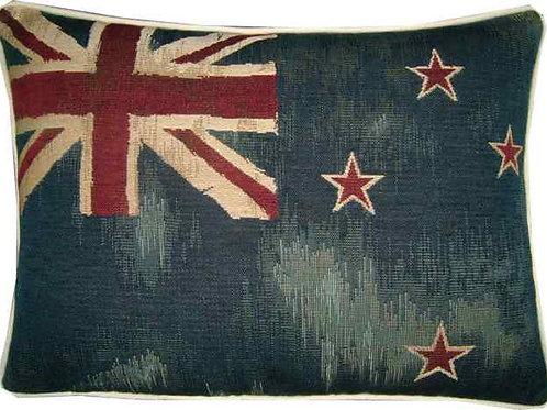 Vintage Style New Zealand Kiwi Flag Tapestry Oblong Cushion
