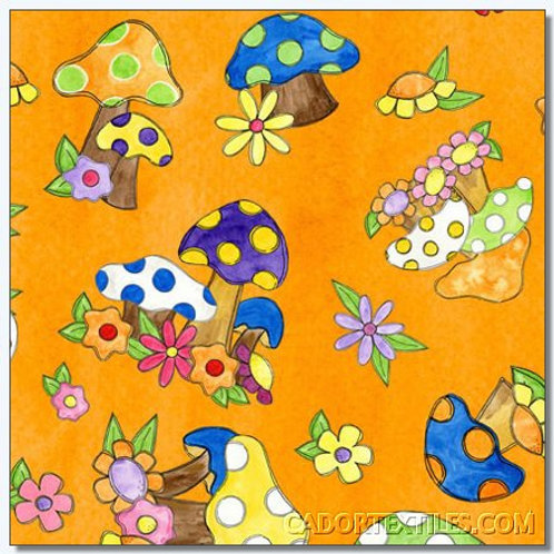 Tara's Brights Orange Toadstools Quilt Fabric