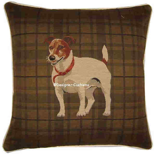 Jack Russell Standing Dark Check Tapestry Cushion Cover