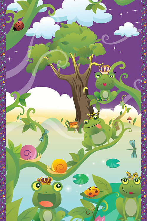 """Avlyn Before the Kiss Frog Prince Panel 60x110cm (24x44"""") Quilt Fabric"""