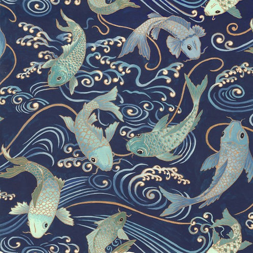 Nutex Yukata Koi Metallic Quilt Fabric 80020 Col1