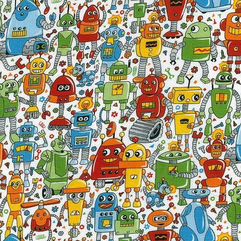 Nutex Novelty Rainbow Robots Novelty Quilt Fabric