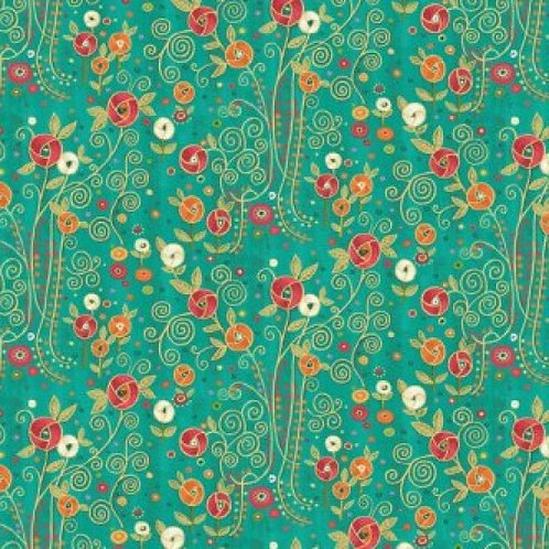 Makower 'Rhapsody' Flowers 93600 Col2 Quilt Fabric