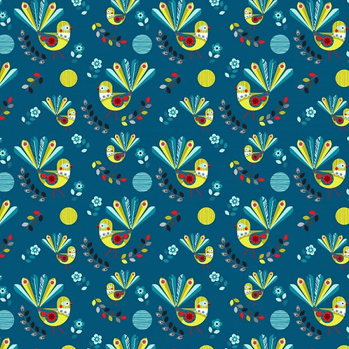 Nutex Novelty Forest Song Fantails Quilt Fabric 89590 Col6