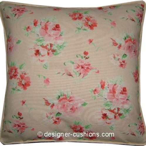 Shabby Chic Cream Pink Floral and Polka Dot Cotton Duck Cushion Cover
