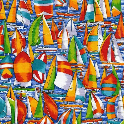 Nutex Novelty Regatta Sailing Yachts Novelty Quilt Fabric