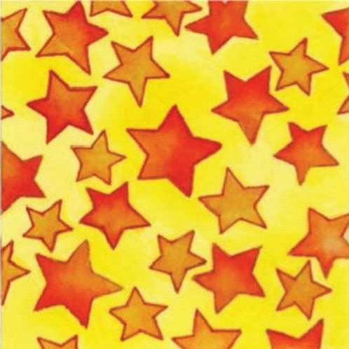 Fine Lines Cattitude C1084-4 Stars Yellow Quilt Fabric