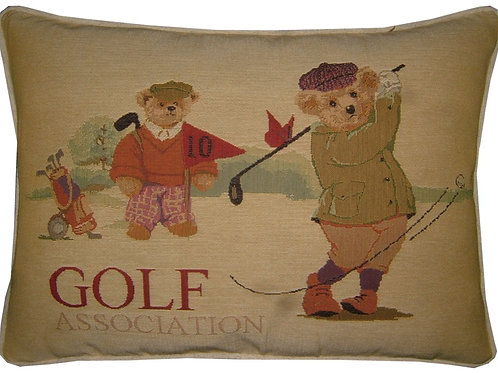Golf Teddy Bears Tapestry Oblong Cushion Cover