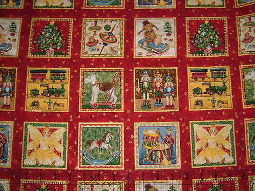 Makower Christmas Toys Card Making Squares Quilt Fabric
