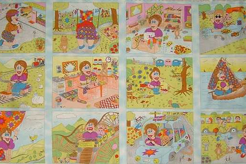 Nutex Novelty Queenie the Muddlehead Quilt Panel Fabric 60cm / 24""
