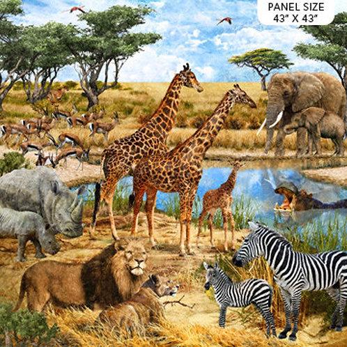 Northcott Savannah Jungle Animal Quilt Panel Fabric 110cm square