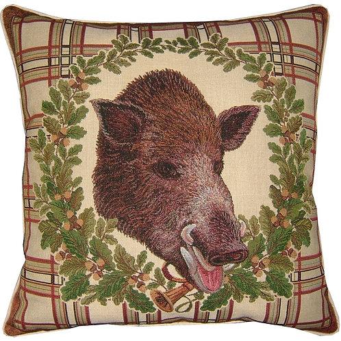 Boars Head Acorn Wreath Tapestry Cushion Cover