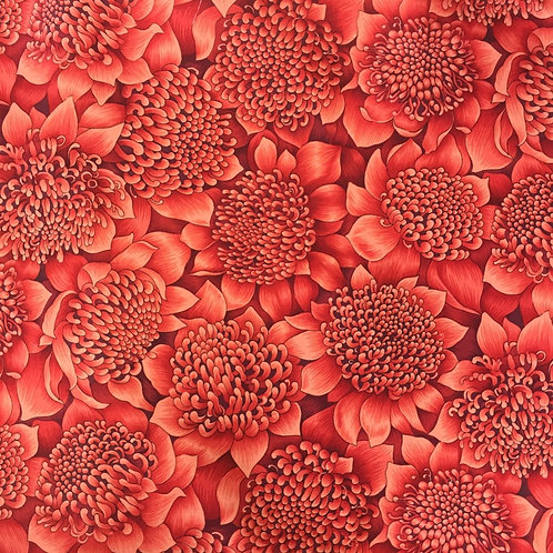 Nutex Australiana Warratah Flowers Packed Red Quilt Fabric