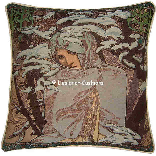 Alphonse Mucha Winter Tapestry Cushion Cover