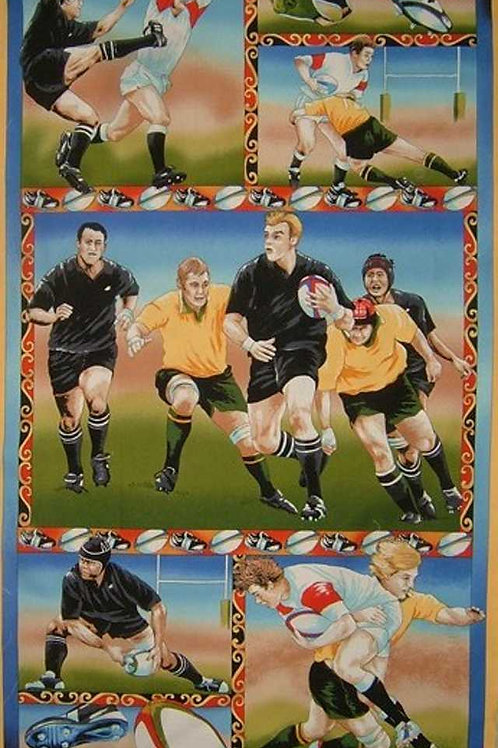 """Nutex Novelty Running Rugby Quilt Panel Fabric 60cm x 110cm 24"""""""