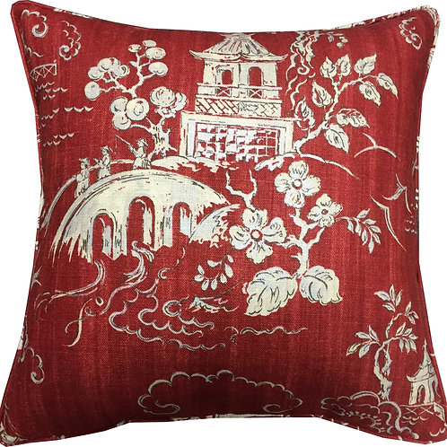 G P & J Baker 'Chinese Bridges' Red Linen Cushion Cover