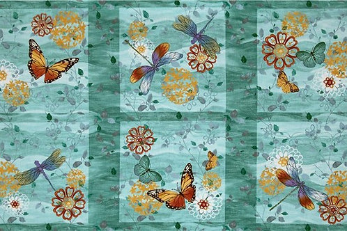 """Fluttering Wings Colourful Things 42325-445W Quilt Fabric 60cm / 24"""" Panel Blue"""