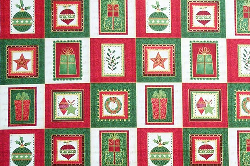 Makower Christmas Classic Card Making Squares Quilt Fabric