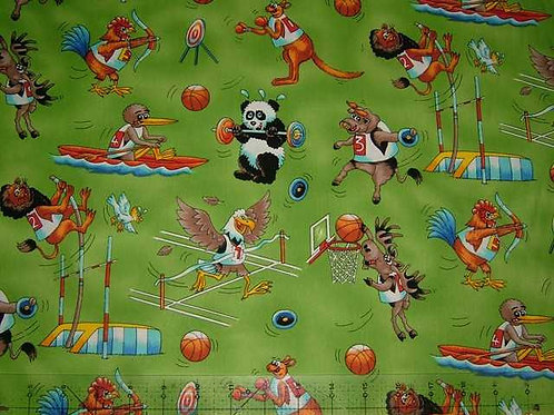 Nutex Novelty The Games Animals Sports Green Col 1 Novelty Quilt Fabric
