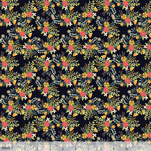 "Blend ""Birdie"" Charcoal Background Flowers Quilt Fabric 78510 Col6"