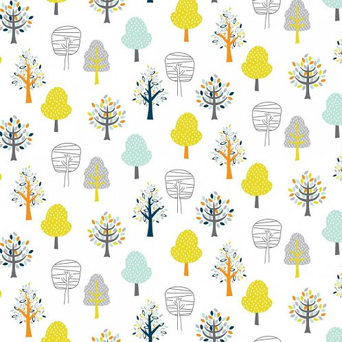 Nutex Novelty Woodland Friends Trees 89840 Col4 Quilt Fabric