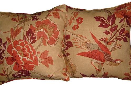 Pair of G P & J Baker 'Atsuko' Brick Colourway Linen Cushion Covers