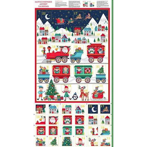 "Makower Novelty Santa Express Christmas Advent Calendar 60cm / 24"" panel"