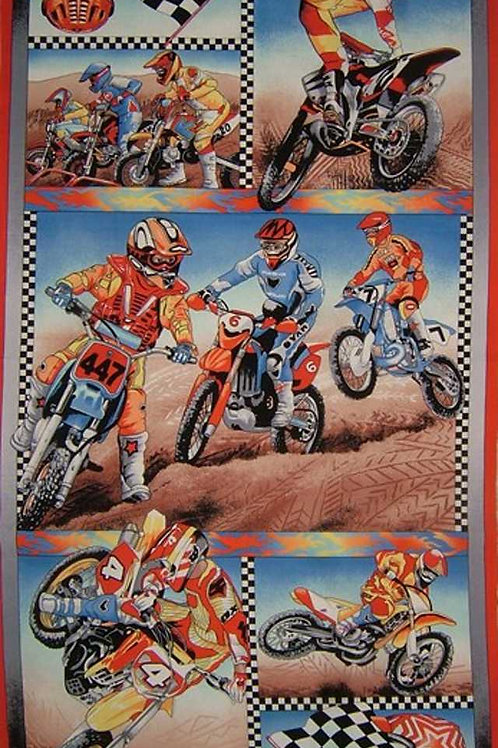 Nutex Novelty Motorcross Motorbikes & Riders Quilt Panel Fabric 60cm / 24""