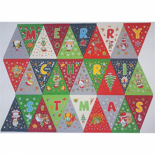 Nutex Christmas Bunting Panel 90cm Quilt Fabric
