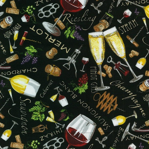 Nutex Vines & Wines Black Novelty Quilt Fabric