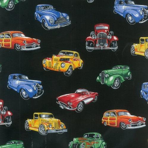 Nutex Novelty Hot Rods Cars Black Quilt Fabric 89540 Col2