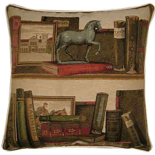Library Books Horse Statue Tapestry Cushion Cover