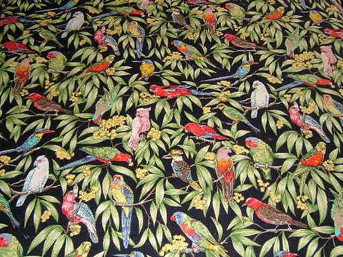 Nutex Australiana Birds in Paradise Navy Quilt Fabric