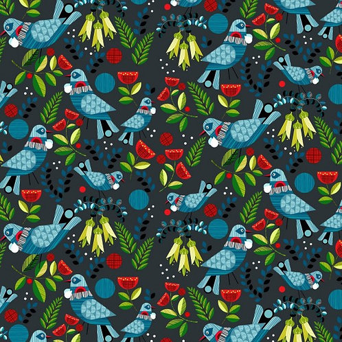 Nutex Novelty Forest Song Birds Quilt Fabric 89590 Col1