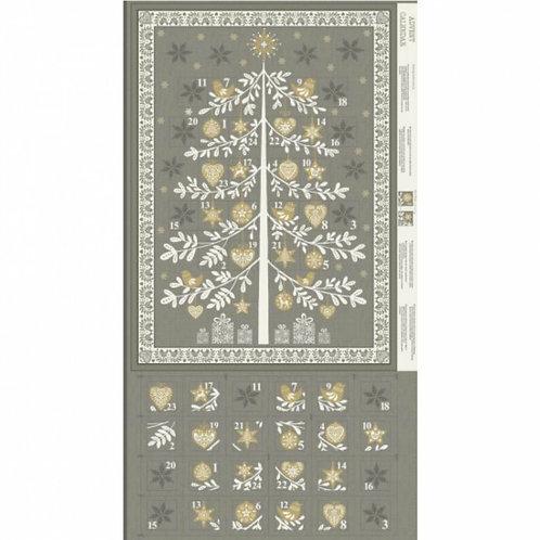 "Makower Scandi Grey Tree Advent Calendar 60cm / 24"" panel"